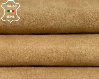 SAND PEANUT BROWN vintage look vegetable tan Italian goatskin goat leather skin skins hide hides 6sqf 0.9mm #A8485