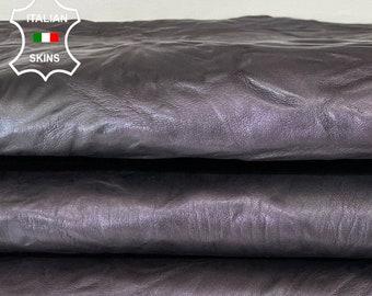 EGGPLANT PURPLE WASHED rustic wrinkled antiqued vegetable tan thick Italian goatskin goat leather skin hide 6sqf 1.5mm #A7978
