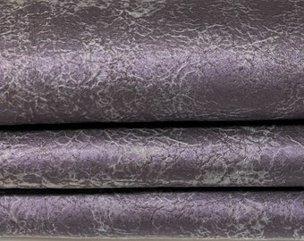 VINTAGE PURPLE PATENT distressed Goatskin Goat leather skin hide skins hides 6sqf 0.9mm #A7610