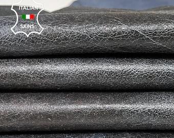 BLUE DISTRESSED CRINKLE vintage look soft Italian lambskin lamb sheep leather skin skins hide hides 6sqf 0.8mm #A8383