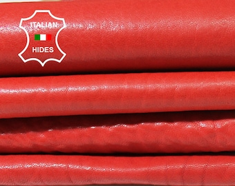 WASHED RED Natural Grainy vegetable tan genuine Italian Lambskin Lamb Sheep leather material for sewing 3 skins hides total 18sqf 1.0mm