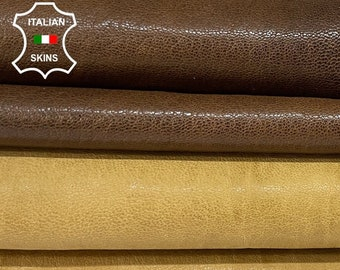 PACK BROWN 2 SHADES antiqued vegetable tan soft Italian goatskin goat leather pack 2 skins total 10sqf #A8442