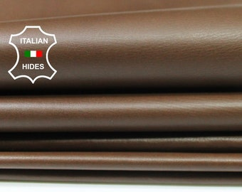 BROWN thin soft Italian Calfskin Calf cow leather material for sewing 2 hides skins total 14sqf 0.4mm #A4775