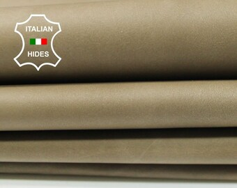 NATURAL KHAKI thin soft Italian Calfskin Calf cow leather material for sewing 3 hides skins total 15sqf 0.3mm #A4794