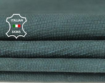 TEAL GREEN NABUCK lizard reptile print textured vintage look soft Italian Lambskin Lamb Sheep leather 3 skins hides total 25sqf 0.6mm #A6481