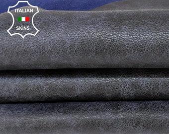 DARK BLUE ROUGH distressed antiqued vegetable tan thick Italian goatskin goat leather skin skins hide hides 5+sqf 1.3mm #A8408