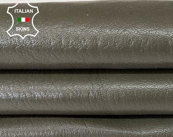 GREEN OLIVE ROUGH vegetable tan thick Italian goatskin goat leather hide hides skin skins 6sqf 1.4mm #A8187