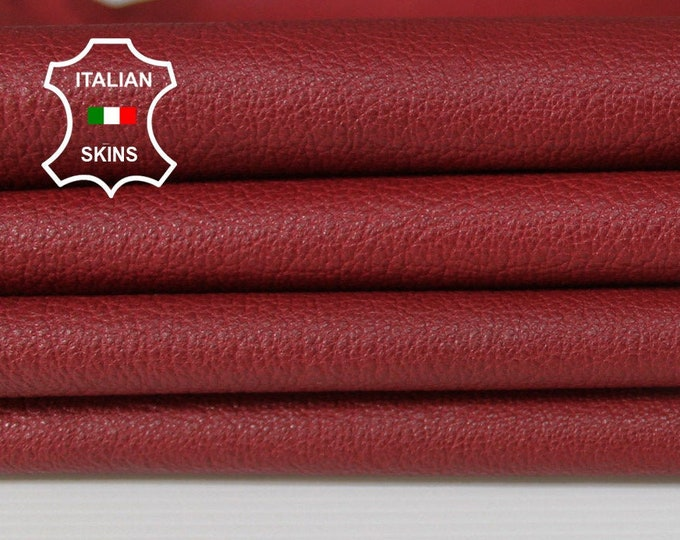 RED Wine dark red grainy rough Italian Goatskin Goat leather material for crafts skin hide skins hides 3-5sqf 1.0mm #A6289