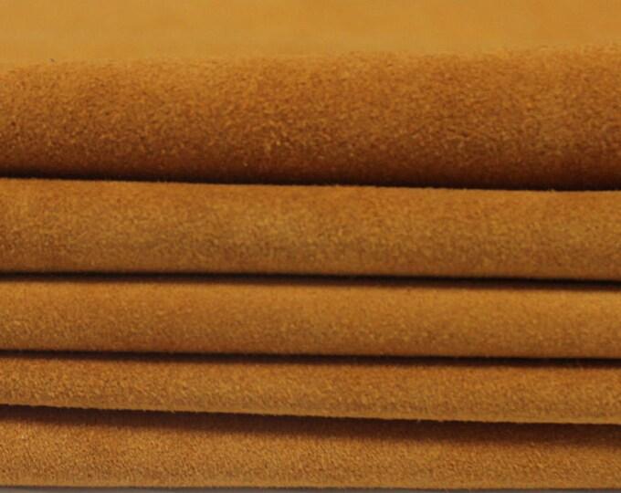 LIGHT TAN SUEDE   Calf  Calfskin  Italian genuine leather  skin skins hide hides 3 pieces total  23+sqf #A2835