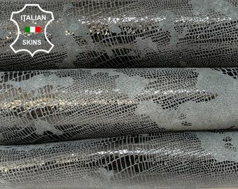 GRAY TEJUS REPTILE  print distressed antiqued shiny soft Italian Lambskin Lamb Sheep leather skin skins hide 6+sqf 0.8mm #A8515