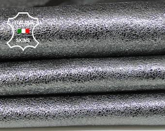 METALLIC ANTIQUE SILVER Steel Pewter crispy Crackle crackled crack Italian Goatskin Goat leather 2 skins total 6+sqf 1.2-1.3mm #A6278
