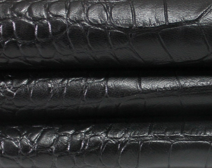 BLACK CROCODILE Pattern Embossed  genuine Italian Goatskin Goat leather skin hide skins hides 0.7mm