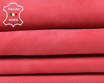 ROSE SUEDE reddish pink Italian Genuine Goatskin Goat leather 2 skins hides total 5sqf 1.0mm #A5385