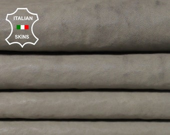 NATURAL GREY / Wool backside gray soft Italian Lambskin Lamb Sheep leather 2 hides skins 12sqf #A5524