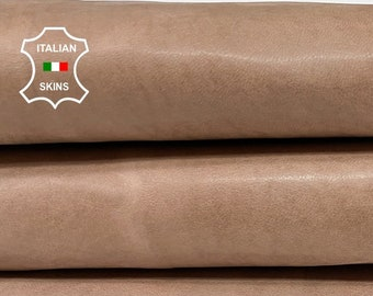NATURAL DEEP NUDE vintage look vegetable tan Italian goatskin goat leather skin skins hide hides 6sqf 0.8mm #A8486