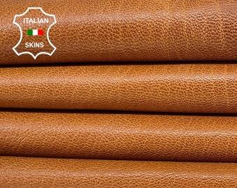 SADDLE TAN BROWN rough vegetable tan thick Italian goatskin goat leather skin skins hide hides 8sqf 1.2mm #A8456