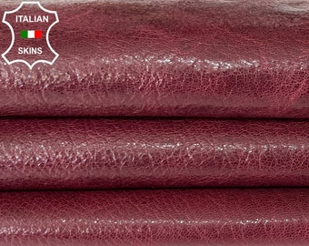 WINE BORDEAUX SHINY rustic antiqued vegetable tan thick Italian goatskin goat leather hide hides skin skins 4+sqf 1.0mm #A8190