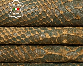 GREEN PITON SNAKE embossed textured vintage look vegetable tan soft Italian lambskin lamb sheep leather skin skins hide 6+sqf 0.7mm #A8386