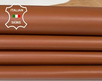 RUST BROWN medium brown Italian Goatskin Goat leather  2 skins hides total 9sqf 0,8mm #A7494