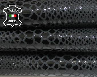 ANTHRACITE BLACK SNAKE print Italian lambskin Lamb Sheep leather 12 skins hides Shiny  80-90sqf 0.7mm