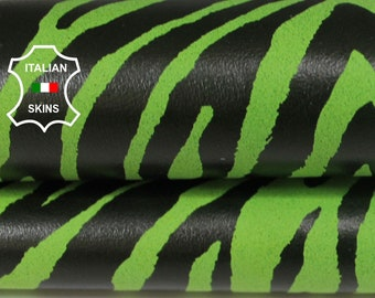 LIME GREEN ZEBRA print Italian Goatskin Goat leather material for sewing crafts fabric skin hide skins hides 3sqf 0.7mm #A6020