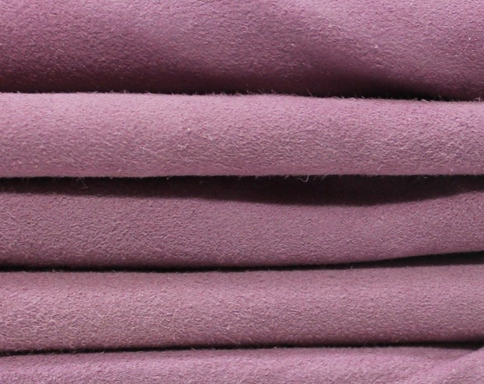 LILAC VIOLET SUEDE soft Italian Lambskin Lamb sheep leather 5 skins hides total 22sqf 0.6mm #A4514