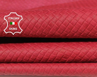 WOVEN NATURAL RED textured Italian Goatskin Goat Leather material for sewing crafts skin skins hides 8sqf 0.8mm #A6426