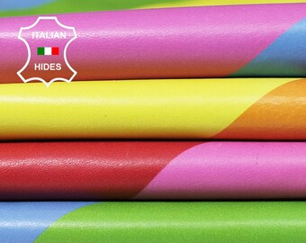 RAINBOW multicolour multicolor print gay flag thin soft Italian genuine Lambskin Lamb Sheep Leather 3 skins hides total 18sqf 0.5mm