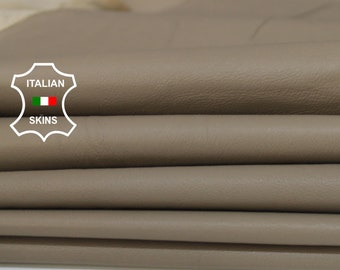 KHAKI BEIGE soft smooth Italian Lambskin Lamb Sheep leather material sewing 2 skins hides total 14sqf 0.6mm #A5925