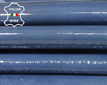 BLUE PATENT Thick Crinkle crinkled shiny wet look Italian Lambskin Lamb Sheep leather 2 skins hide total 10sqf 1.3mm #A5863