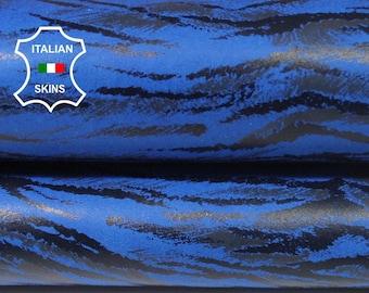 BLUE TIGER print Italian Lambskin Lamb Sheep leather skin hide skins hides 4sqf 0.6mm #A5787