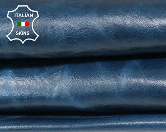 SHINY BLUE ANTIQUED textured rustic Italian Lambskin Lamb Sheep leather skin hide skins hides 4-7sqf 0.8mm #A6874