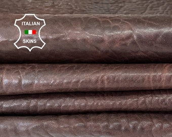 BROWN BUBBLY grainy vegetable tan rustic antiqued vintage look thick Italian lambskin sheep leather 4 skins total 18sqf 1.8mm 2.0mm #A8152