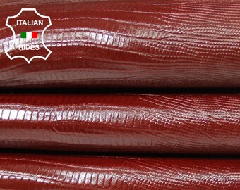 RED BRIC REPTILE Tejus reptile embossed textured thin strong Italian Goatskin Goat leather 4 skins total 28qf 0.5mm #A5421