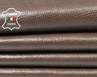 BROWN LIZARD REPTILE textured soft Italian Lambskin Lamb sheep leather 2 skins hides total 16sqf 0.5mm #A4880