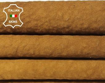 NATURAL CAMEL BROWN / Wool backside soft Italian Lambskin Lamb Sheep leather 2 hides skins total 9sqf #A5521