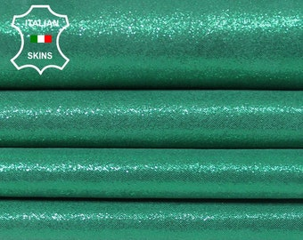 PEARLIZED GREEN SUEDE Shimmer Italian Lambskin Lamb Sheep Leather 2 skins hides total 5sqf 0.6mm #A5709