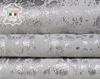 METALLIC SILVER SPOTTED on white distressed Italian Goatskin Goat leather material for crafts skin hide skins hides 2-3sqf 0.8mm #A6336
