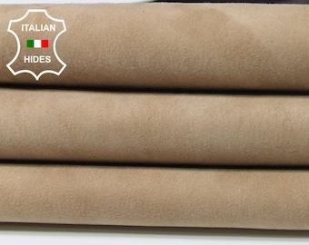 STRETCH BEIGE SUEDE sand sandy beige soft Italian Lambskin Lamb leather skin hide skins hides 4sqf 1.2mm #A5380