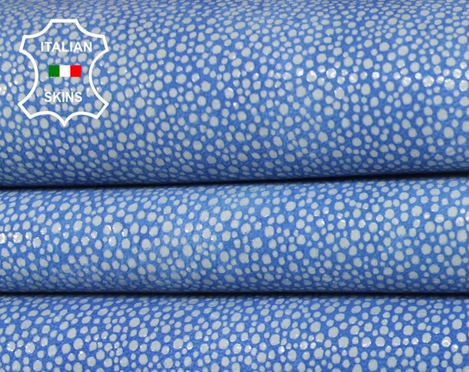 WHITE REPTILE TEXTURED on Blue vintage look Italian Lambskin Lamb Sheep leather 2 skins hides total 11sqf 1.1mm #A6482