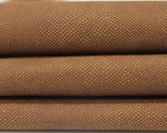 VINTAGE BROWN reptile embossed vegetable tan Italian genuine Lambskin Lamb Sheep leather 2 hides skins 10sqf 0.7mm #A3934