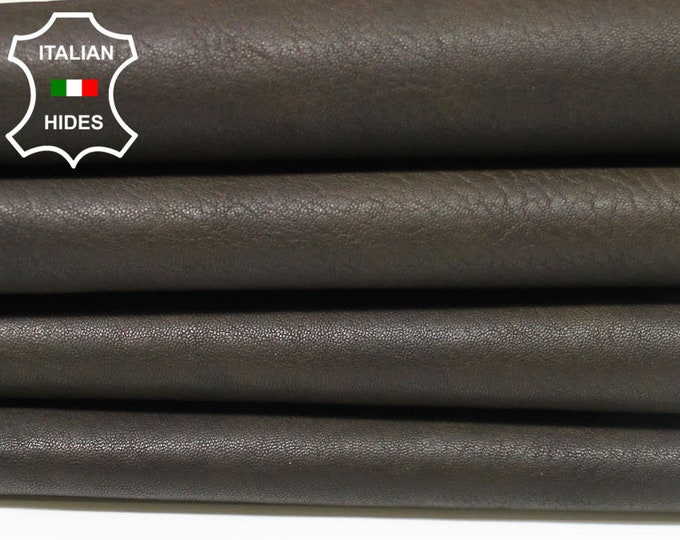 DARK OLIVE GREEN army washed antiqued rustic thick rough Italian Goatskin Goat leather 4 skins hides total 20sqf 1.5mm #A4914