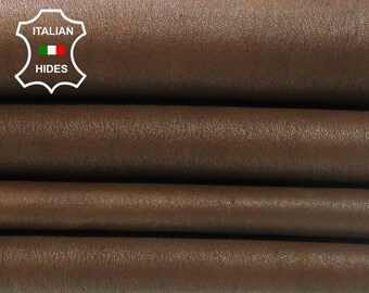 STRETCH BROWN vegetable tan Italian Lambskin Lamb Sheep leather material for sewing 2 skins hides total 10sqf 0.7mm #A4504