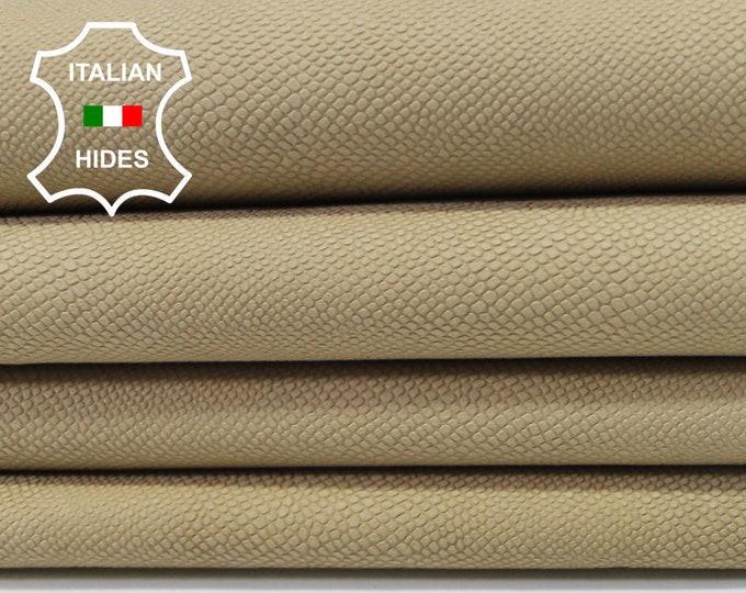 NATURAL BEIGE reptile embossed vegetable tan Italian genuine Lambskin Lamb Sheep leather 3 hides skins 15sqf 0.7mm #A3939