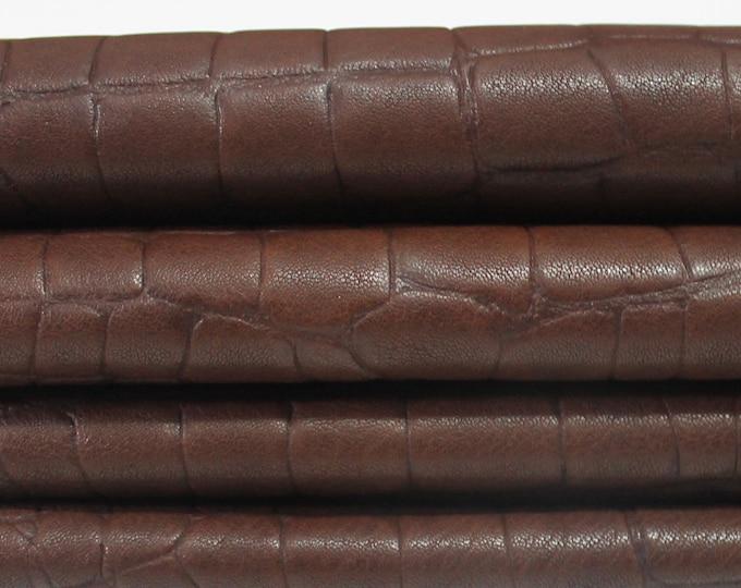 BROWN antiqued crocodile embossed vegetable tan Italian genuine Lambskin Lamb Sheep leather skin hides skins 5sqf 1.1mm #A3933