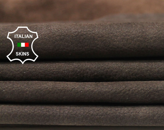BROWN NABUCK pebble grain grainy soft Italian Calfskin Calf cow leather material for sewing 2 hides skins total 20sqf 0.7mm #B5