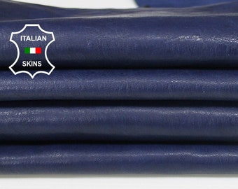 BLUE washed rustic antiqued vegetable tan Italian Goatskin Goat leather 2 skins hides total 10sqf 0.8mm #A6569