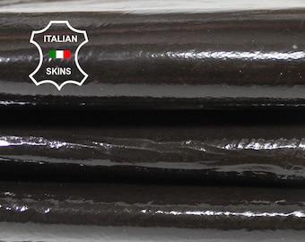PATENT BROWN CRINKLE dark brown shiny Crinkled Italian Lambskin Lamb sheep leather skin hide skins hides 8sqf 1.0mm #A5607