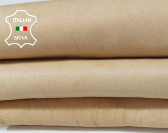 UNDYED NAKED BEIGE vegetable tan thick Italian Lambskin Lamb sheep leather material for crafts skin hide skins hides 6sqf 1.6mm #A6537