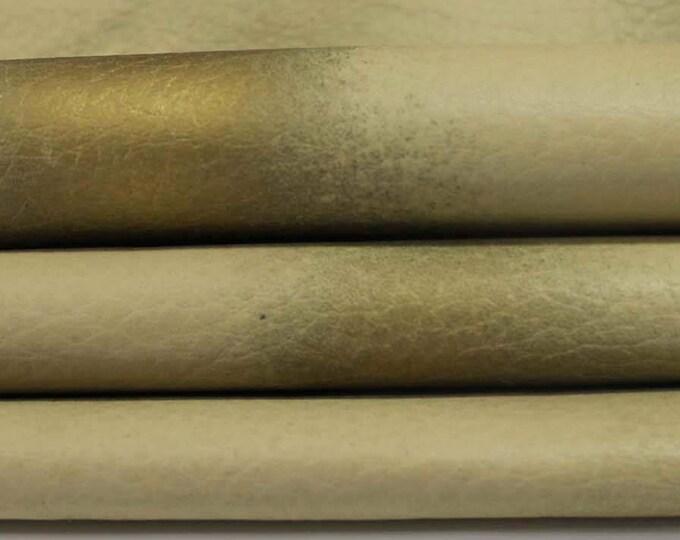Grainy KHAKI Old Gold bronze distressed Lambskin lamb sheep leather 7 skins hides 40sqf